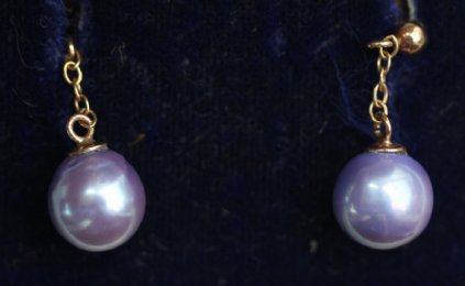 Gold & Black Pearl Ear studs - SOLD