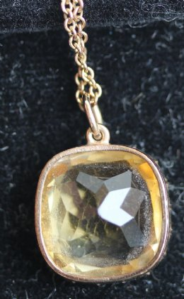 Gold & Citrine Pendant with Chain
