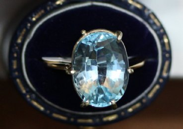 Gold, Aquamarine Ring
