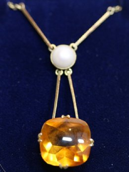 Gold, Citrine & Pearl Pendant - SOLD