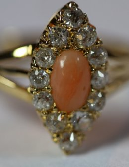 Gold, Coral & Old Cut Diamond Ring