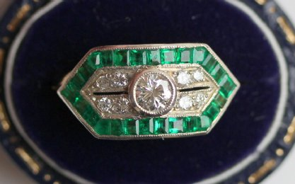 Gold, Emerald & Diamond Ring - SOLD