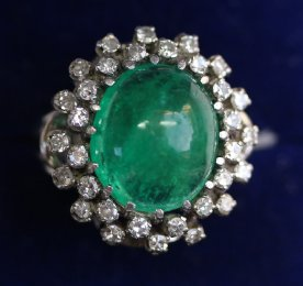 Gold, Emerald & Diamond Ring C1930