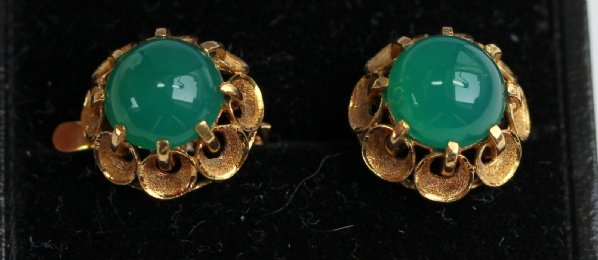 Gold Gem Set Cabocham Earrings