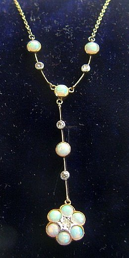 Gold, Opal,& Diamond Necklace