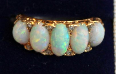 Gold, Opal & Diamond Ring