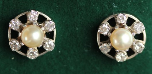 Gold, Pearl & Diamond Earrings
