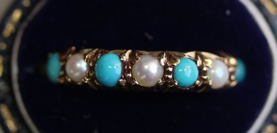 Gold, Pearl & Turquoise Ring