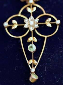 Gold, Peridot & Seed Pearl Pendant with Chain