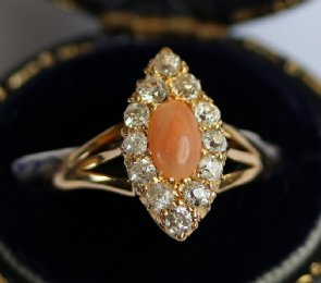 Gold,Coral & Old Cut Diamond Ring