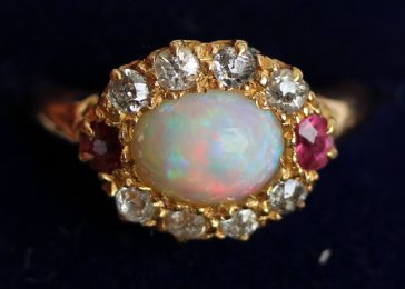 Gold,Ruby,Opal& Diamond Ring