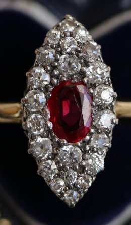 Old  Cut Diamond & Ruby Ring