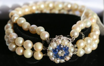 Pearl Bracelet with Sapphire & Diamond Clasp - SOLD