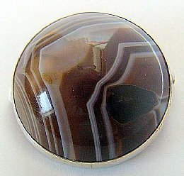 Scottish Silver  Agate Brooch