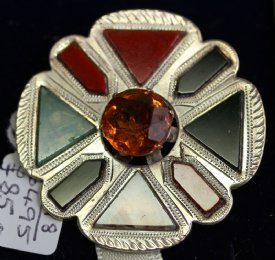 Scottish Silver & Agate Brooch