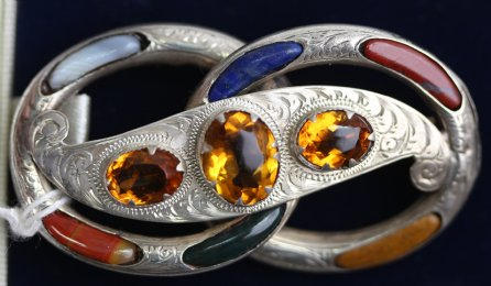Silver ,Agate , & Cairngorm Brooch