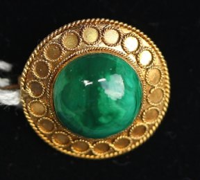 Small gold & malachite brooch