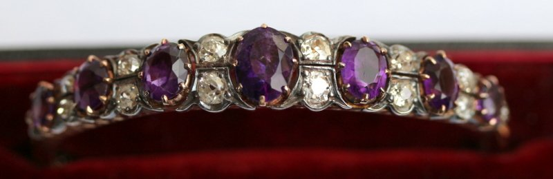 Victorian Amethyst & Diamond Bangle