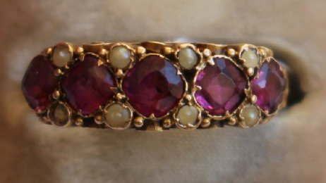 Victorian Gold, Amethyst & Seed Pearl Ring