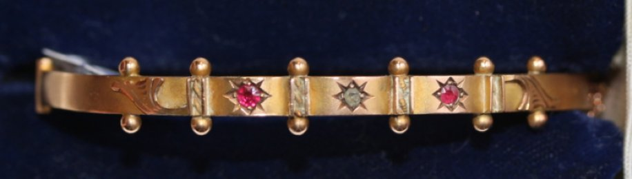 Victorian Gold, Ruby & Diamond Bangle