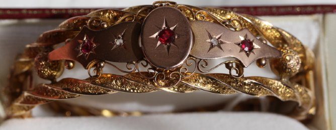Victorian Gold,Ruby & Diamond Bangle
