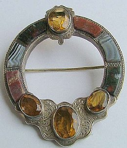 Victorian Silver & Agate Scottish Brooch