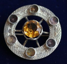 Victorian Silver & Gem Set Brooch