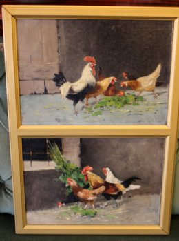 Hens & Roosters -Oil Painting