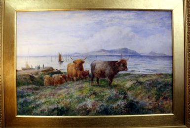 Watercolour-Cattle by the shore -S Q Howard - SOLD