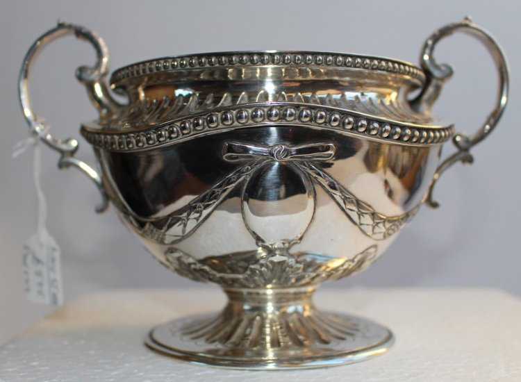 Castle Close Antiques Silver Sugar Bowl Silver Amp Glass