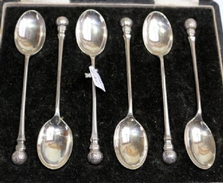 Boxed Set of 6 Silver GOLF BALL Teaspoons