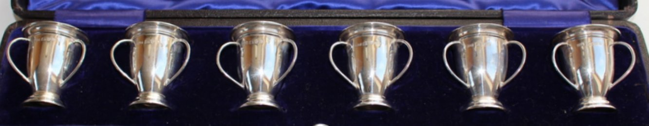 Cased Set of 6 Three Handled Silver Cups