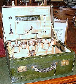 Fitted Leather Case with Silver Topped Jars Ec