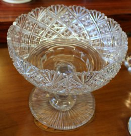 Large Victorian Footed Crystal Bowl