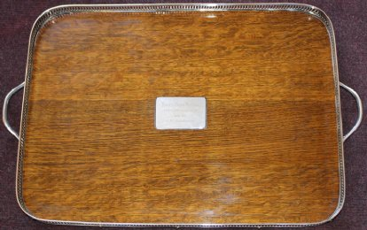 Oak & Silver Plate Gallery Tray