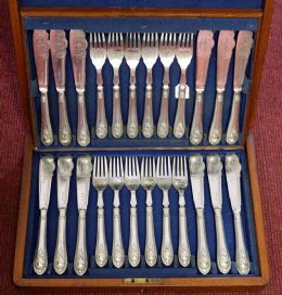 Set of 12 Silver Plated Fish Knives & Forks (Walker & Hall)
