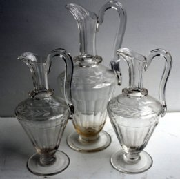 Set of 3 19th cent Wine Jugs