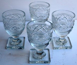 Set of 4 Square Base 19th cent Glasses