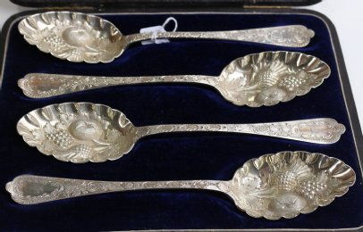 Set of 4 Victorian Silver Plated Berry Spoons - SOLD