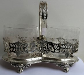 Silver Plated Stand with 2 Etched Glass Bowls