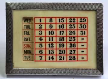 Small Silver Framed Desk Calendar