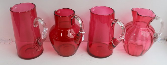 Victorian Cranberry Glass Jugs